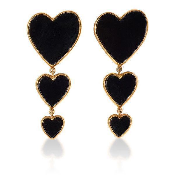 Edie Parker Triple Heart Earring (€1.015) ❤ liked on Polyvore featuring jewelry, earrings, black, earring jewelry, edie parker, heart earrings, heart shaped jewelry and heart jewellery