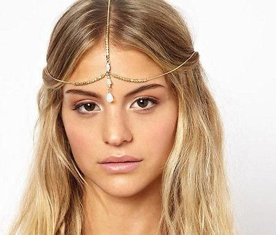 White Triangle Oval Shell Gold Greek Roman Toga Party Hair Chain