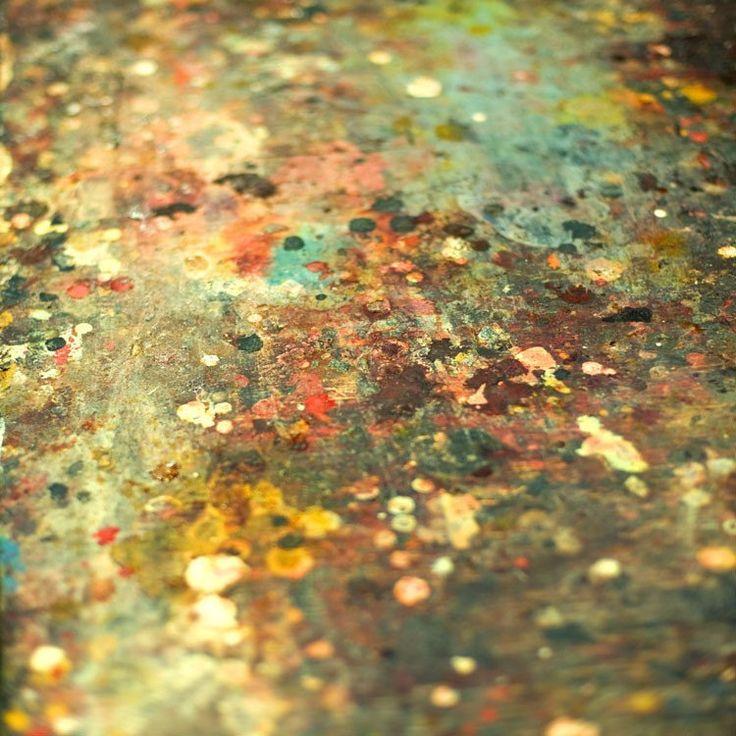 Modern home decor - Art Table - teal turquoise mustard yellow abstract paint splatter on artist's table fine art photography 16x16