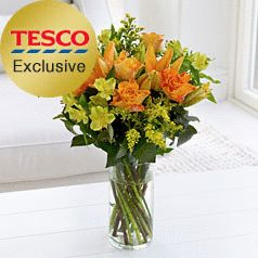 Orange Rose and Lily Hand-tied