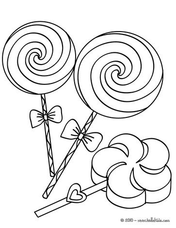 Big lollipops coloring page - Girl´s birthday party coloring pages