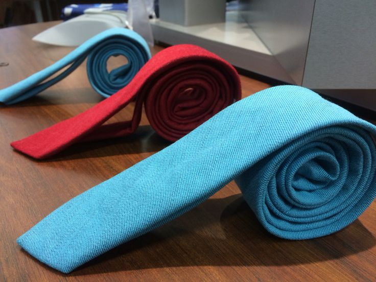 Turquise and red denim ties.