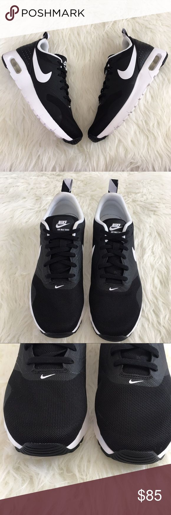 Nike Air Max Tavas Black & White Sneakers BNWOB. Never been worn. No flaws. Very lightweight, supportive and comfortable sneakers. Perfect for working out or just casual wear. Classic black and white will match all your workout outfits! 5Y is equivalent to a women's size 6.5 according to Nike's website. Nike Shoes Athletic Shoes