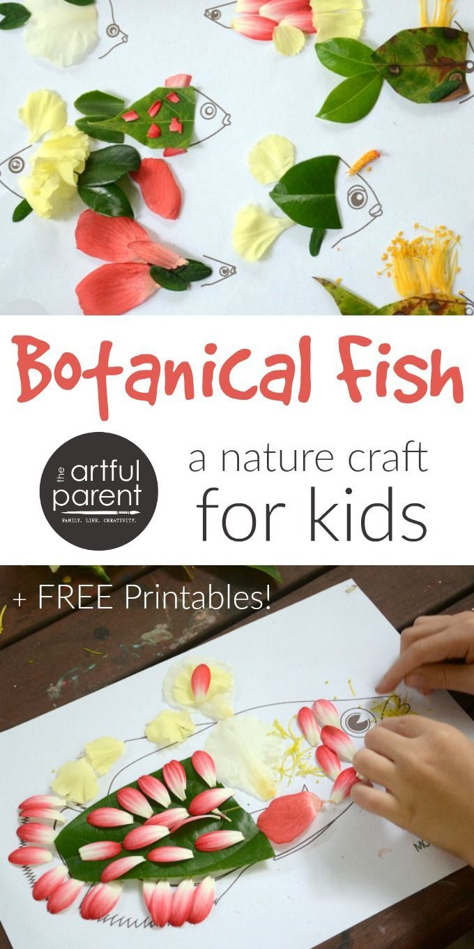 Try this unique fish craft by adding nature finds (especially flower petals and leaves) to these free fish printables. An easy & fun nature craft for kids!