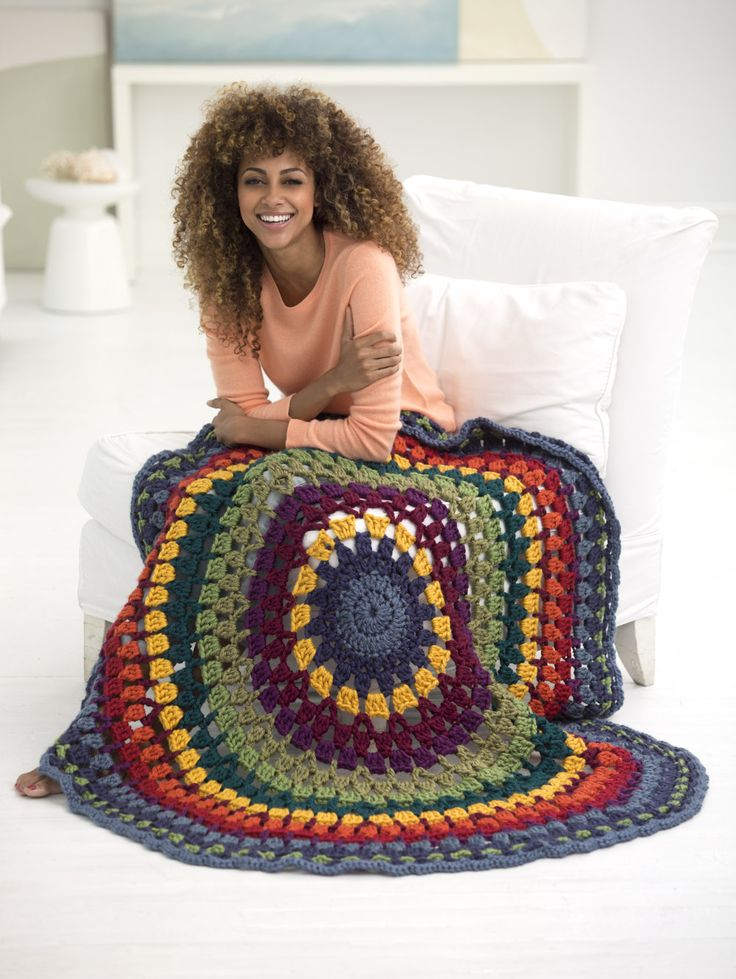 Make this statement afghan with Lion Brand Hometown USA! Free crochet pattern calls for 12 balls of yarn in a rainbow of colors (pictured: washington denim, san diego navy, madison mustard, napa valley pinot, portland wine, galveston green, oklahoma city green, montpelier peacock, portsmouth pumpkin, and tampa spice) and a size N-13 (9 mm) crochet hook.