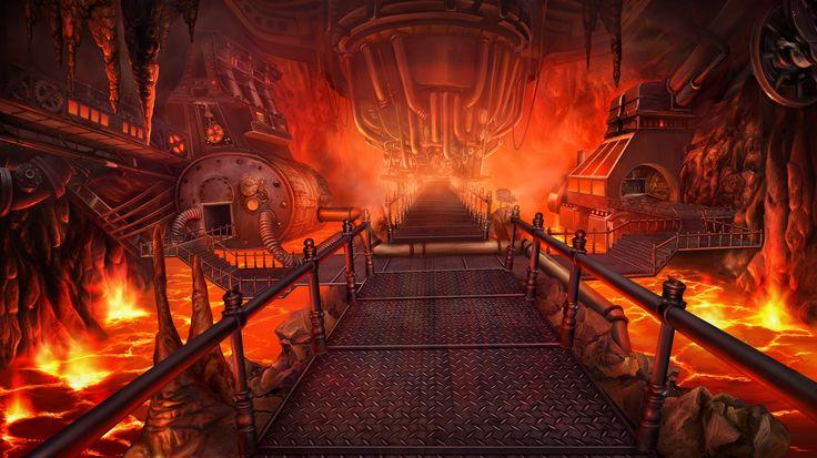 Clockwork Tales: Of Glass and Ink #steampunk #adventure #game #cave #entrance #lava #art www.artifexmundi.com/page/clockwork/ www.facebook.com/ArtifexMundi.ClockworkTales