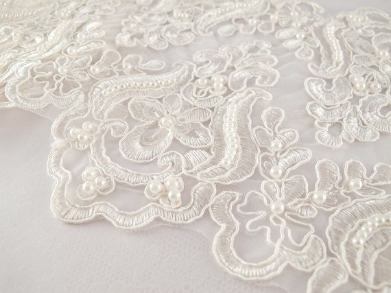 1 Yard Elegant Luxury White Wedding Lace Beaded Lace Bridal Bride's Dress Veil Lace Lace Trim 7 inches