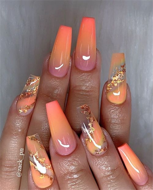 Chic Ombre Coffin Nails Designs In Summer   – Nail art