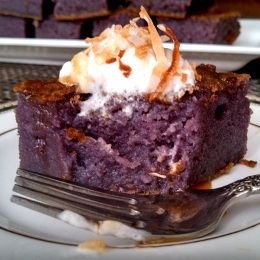 Purple Yam Ube Sweet Rice Cake I was first introduced to this delicious treat called Butter Mochi cake by a friend of mine while living in Hawaii and instantly became one of my favorites  simply because it's out of this world.  Recipe courtesy of Anna B. of Annascuisine website.