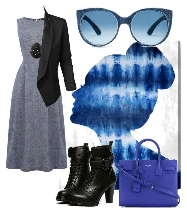 """""""Untitled #100"""" by nenglita on Polyvore featuring Oliver Gal Artist Co., Warehouse, LE3NO, WithChic, Venyx and Yves Saint Laurent"""