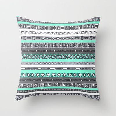 Tiffany Turquoise Aztec Print Throw Pillow by RexLambo - $20.00