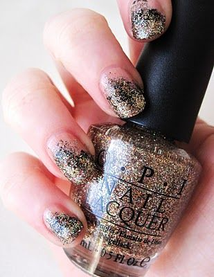 glitter nail polish with makeup sponge tip