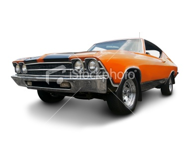 Orange Muscle Car from 1969 Royalty Free Stock Photo