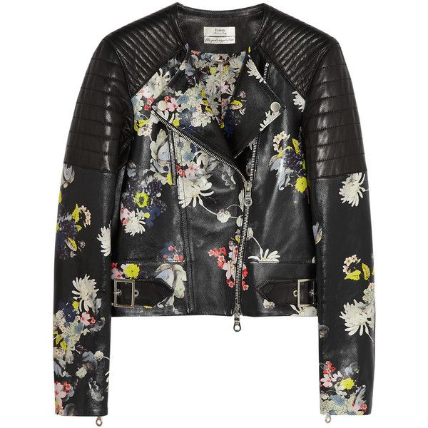 Erdem Jade floral-print nappa leather biker jacket (31.580 ARS) ❤ liked on Polyvore featuring outerwear, jackets, tops, coats & jackets, black, biker jackets, quilted moto jacket, flower print jacket, moto jacket and quilted motorcycle jacket