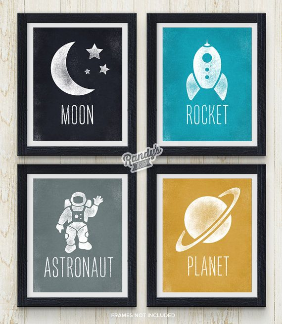 Playroom Decor, Set of 4 Prints, Boys Room Art Space theme, Modern Kids Art