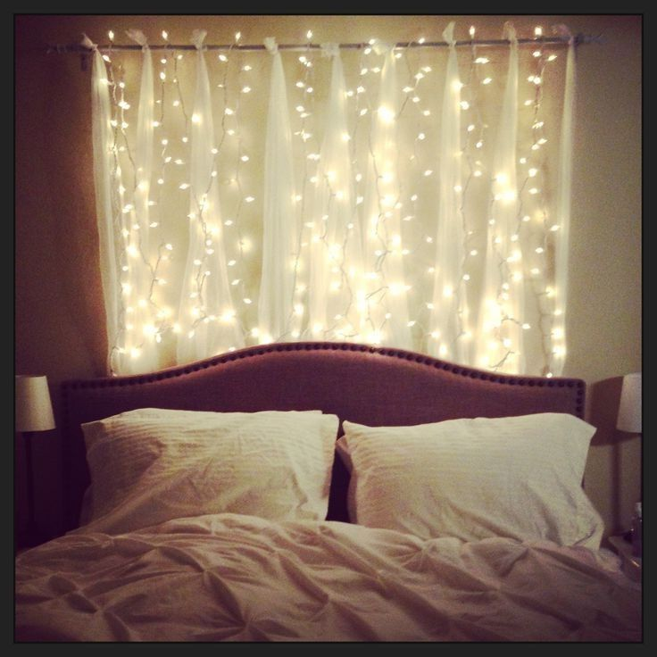 Hanging String Lights In A Bedroom : 1000+ ideas about Headboard Lights on Pinterest Grey desk lamps, Bed with headboard and Headboards