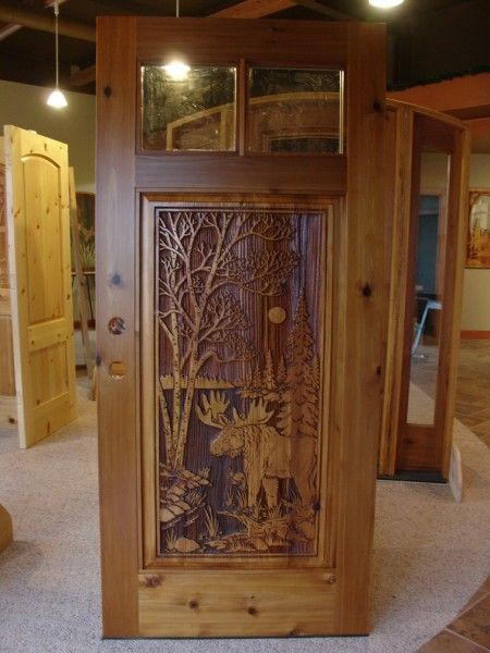 2 Lite Door W Moosesandcarved Moose Design In 2 Lite Cedar