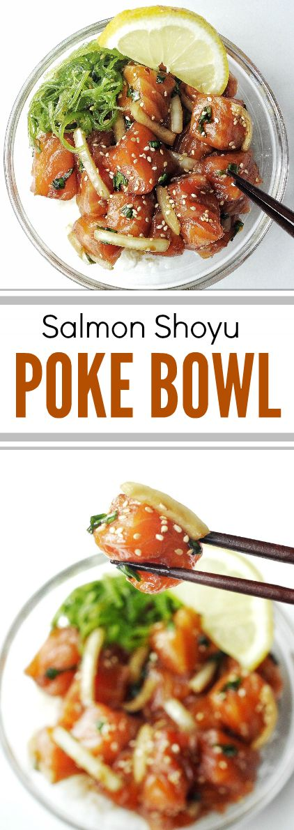 Fresh and delicious Hawaiian salmon poke bowl. Marinated with flavourful shoyu (soy sauce), green onions, and white onions, it's the perfect summer recipe!