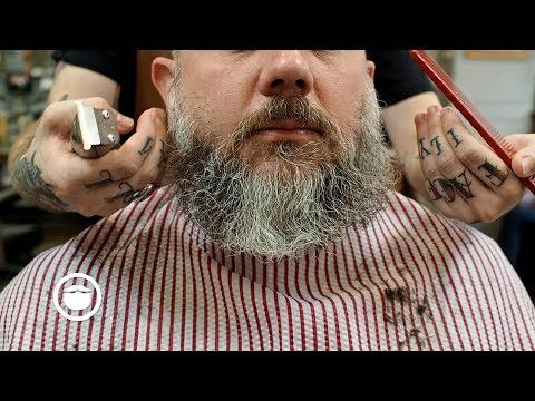 How to Shape a Wild Beard and Style Professional Haircut - YouTube