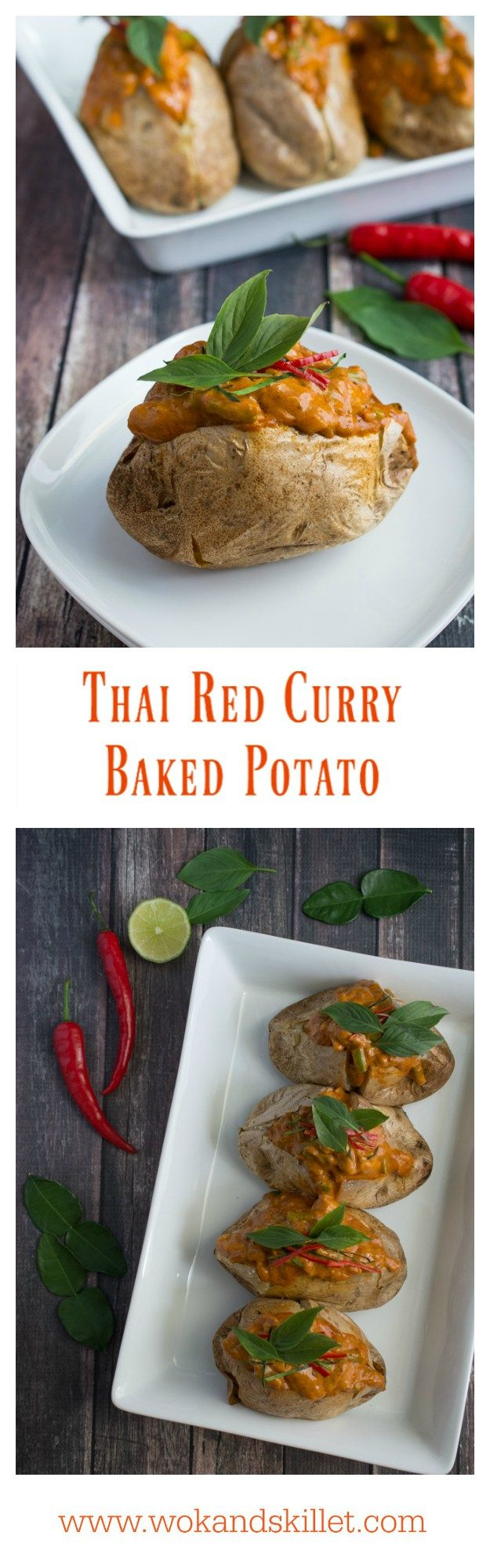 """Thai Red Curry Baked Potatoes is an """"East Meets West"""" version of comfort food. Perfect fluffy baked potato topped with a creamy, rich Thai Red Curry with tender chicken and crunchy green beans."""