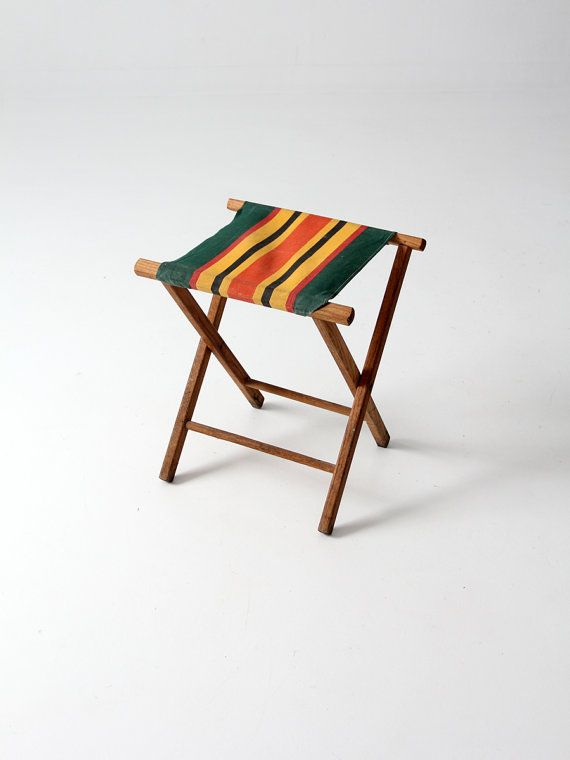 vintage camp stool / striped canvas folding seat by 86home on Etsy, $100.00
