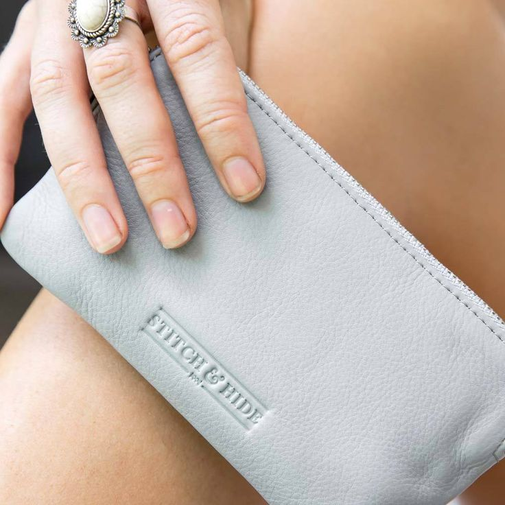 Stitch & Hide | Lucy Leather Pouch in Misty Grey