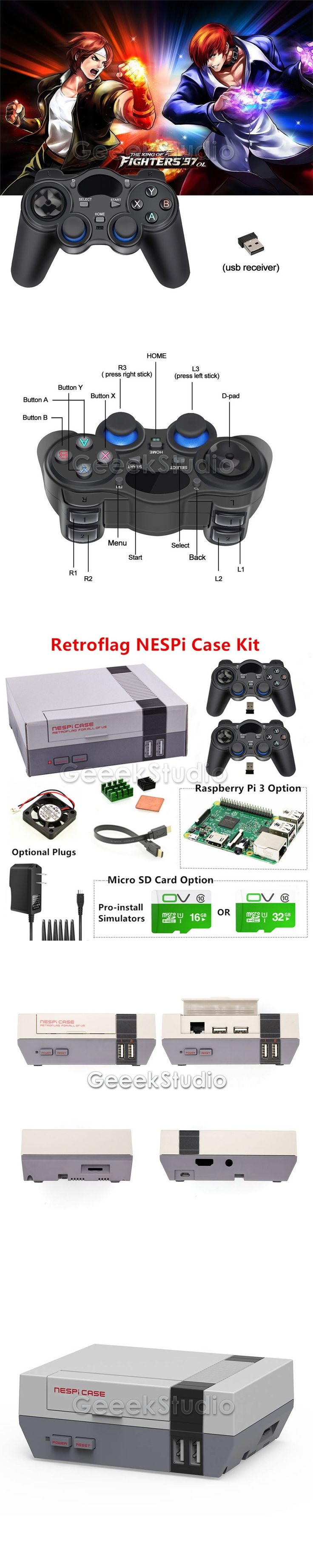NESPi Case Retroflag Kit with Fan+2 Pcs 2.4GHz Wireless Gamepads+Optional 16G/32G Micro SD Card+Optional Raspberry Pi 3 Board