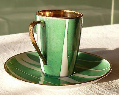 Kaffeetasse / Kakaotasse mit Untertasse Cmielow Porzellan Polen 60er 70er Jahre 2