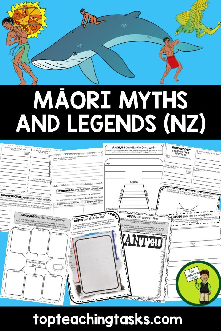 This pack includes four Year Five, Year Six, Year Seven and Year Eight Maori Myths and Legends literature texts with six engaging text dependent higher order thinking tasks. These link directly to the New Zealand Curriculum, Level Three, Listening, Reading and Viewing. www.topteachingtasks.com