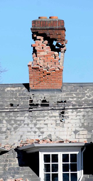 Christchurch fire service spokesman said a number of people had been trapped in buildings by fallen chimneys and blocked entrances. Picture: AP