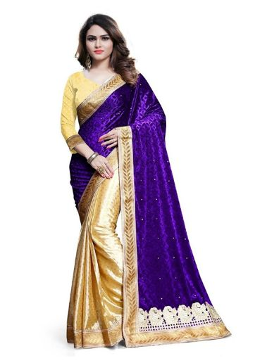 This is a lovely velvet and jacquard saree and it has a good quality and soft finishing type of saree. The saree image showing blue color of velvet but it is a purple color velvet fabric and it is a purple and beige color combination of beautiful saree. This saree bottom has a beige color and it has a dots type self-design and full saree has a beige color leaf style border and shoulder has a purple color and it is a very attractive and i