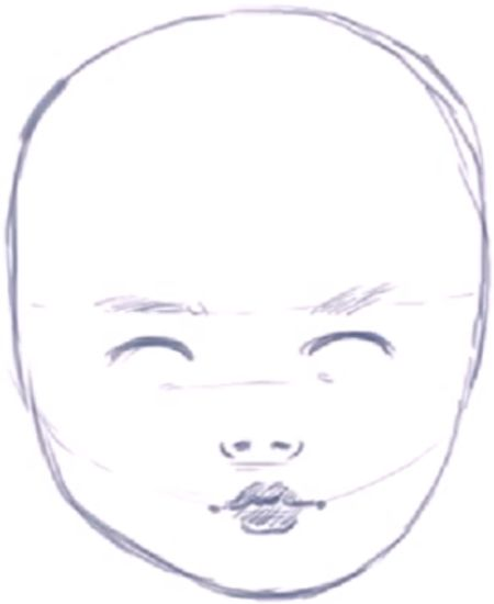 Step 09 how to draw babies How to Draw a Babys Face / Head with Step by Step Drawing Instructions