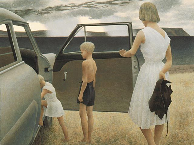 alex colville paintings | Alex Colville, Family and Rainstorm, 1955. Image: cybermuse.gallery.ca