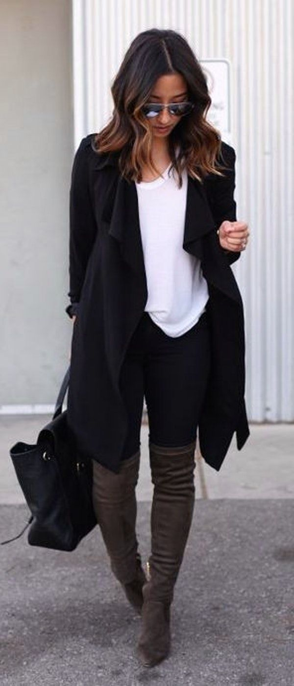 #thanksgiving #fashion ·  Black Coat // White Tee // Black Skinny Jeans // Over The Knee Boots // Black Leather Tote Bag