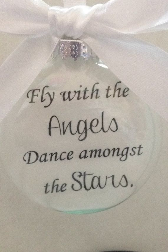Memorial Ornament w/ Silver Angel Charm Fly by ShopCreativeCanvas