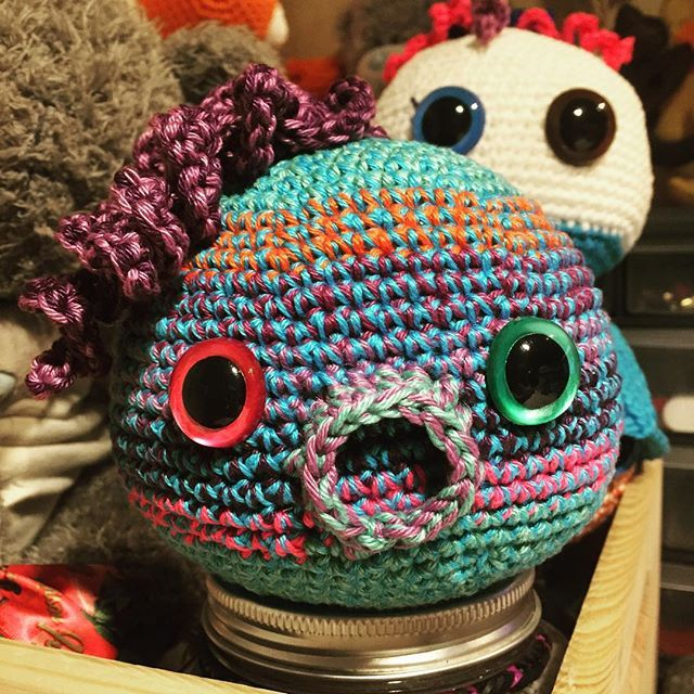 This is Stripy the Blob. My Blob line started out as octopuses. But I did love them more without tentacles. #crochet #plush #blue #pink #green #orange #purple #cuddly #octopus #kissable #notentacles