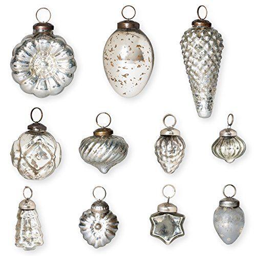 Christmas Tablescape Decor - Silver Mercury Glass Antique Christmas Ornaments - Set of 12
