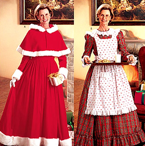 OOP Mrs Santa Claus Costume Butterick Sewing Pattern 6816 Cape Dress Apron