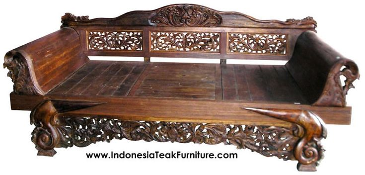 Really asian hand carved wood daybed took