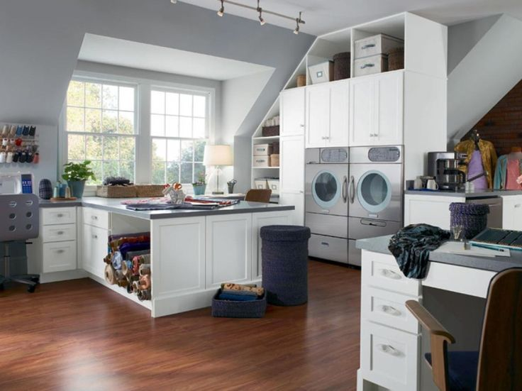 Interior Design, Laundry Room Design Combine With Kitchen Area With Sloping  Ceiling: 33 Cool