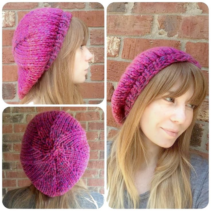 Knit Beret free pattern. Fun, fast, and super easy - only about 2 hours from start to finish!