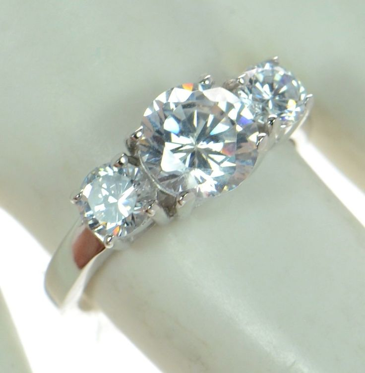 Solid 925 Sterling Silver Round Cut Cz 3-Stone Engagement Ring Size-7 ' #SterlingSilverEngagement