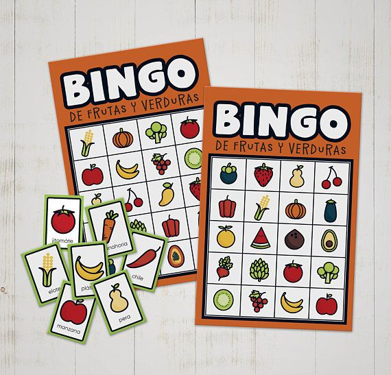 Bingo game to play and learn Spanish fruit and vegetable names