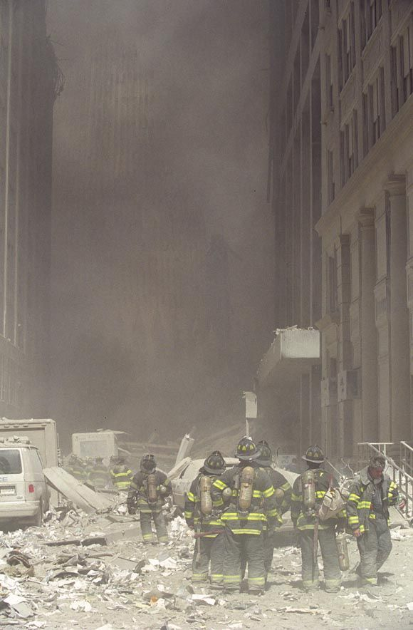 9/11 - FDNY responders on Greenwich Street, south of the Twin Towers