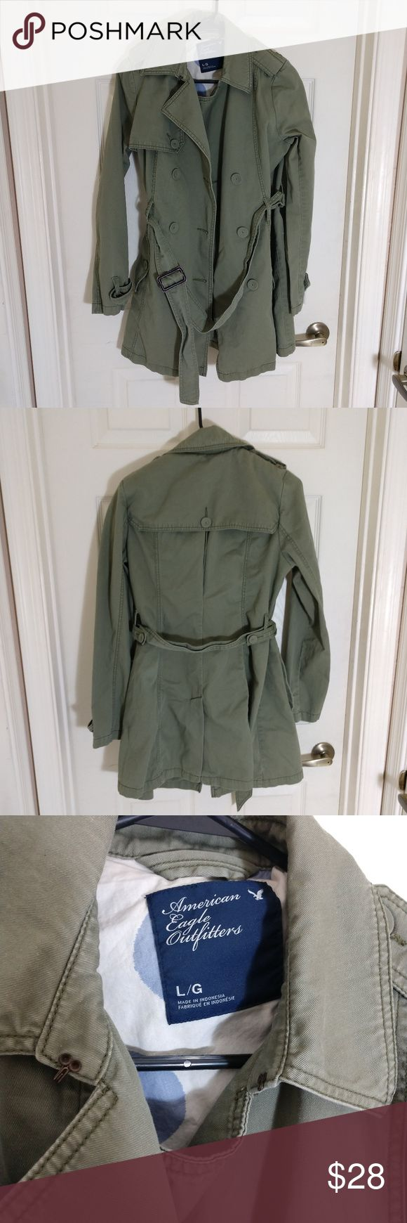 AMERICAN EAGLE OUTFITTER~TRENCH COAT~OD GREEN~SZ L AMERICAN EAGLE OUTFITTER~TRENCH COAT~OD GREEN~SZ L  DETAIL:  OLIVE DRAB, TRENCH COAT, WITH BELT.  CONDITION:  Item is in excellent used condition. Very little, if any, noticeable wear. See images for condition. Feel free to ask any questions. American Eagle Outfitters Jackets & Coats Trench Coats