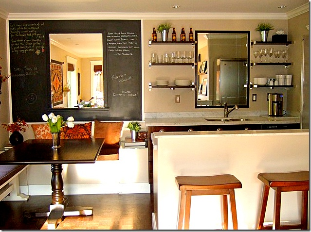small kitchens- I love that it has a booth table and seats beside it too :)