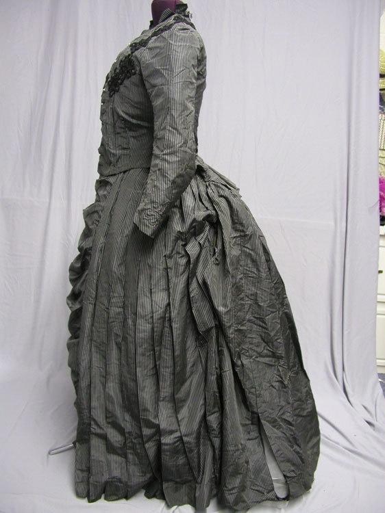 1880   s Stripe Silk Victorian Bustle Gown   eBayVictorian Bustle Gowns