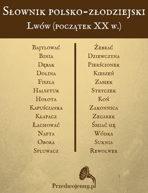 Przedwojenny słownik polsko-złodziejski - stary Lwów