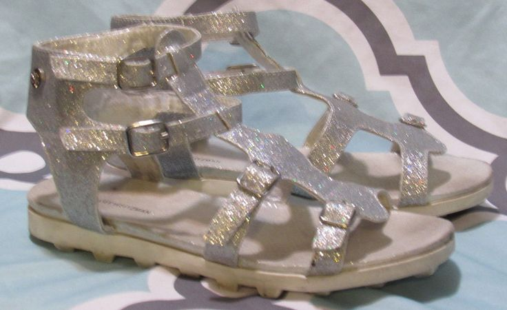 Stuart Weitzman Gianna Gladiator Silver Glitter Sandals Girls 3M Low Heel Comfor #StuartWeitzman #Sandals #Casual