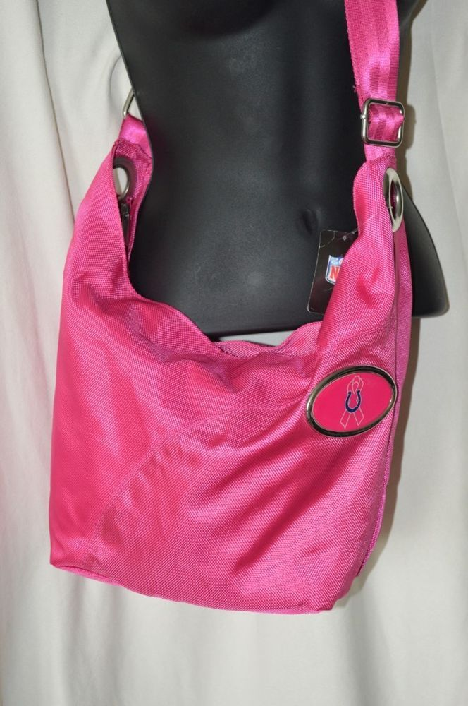 NFL Colts Breast Cancer Awareness Crossbody NEW Pink Zip Close Purse Adjustable #NFL #Hobo